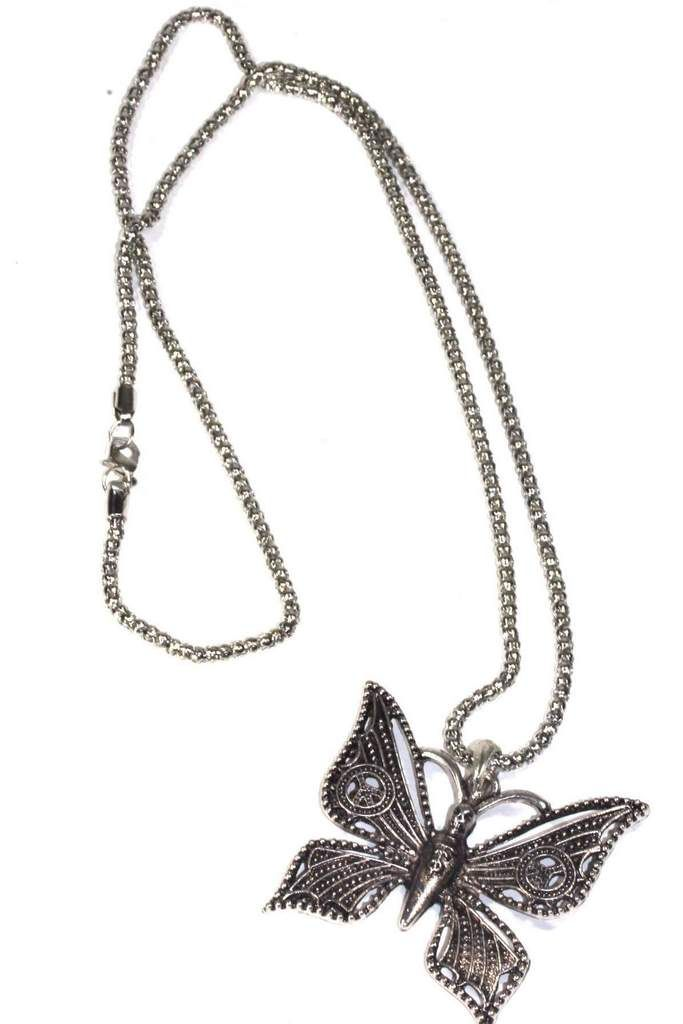 Peace Winged & Skull Head Butterfly Necklace
