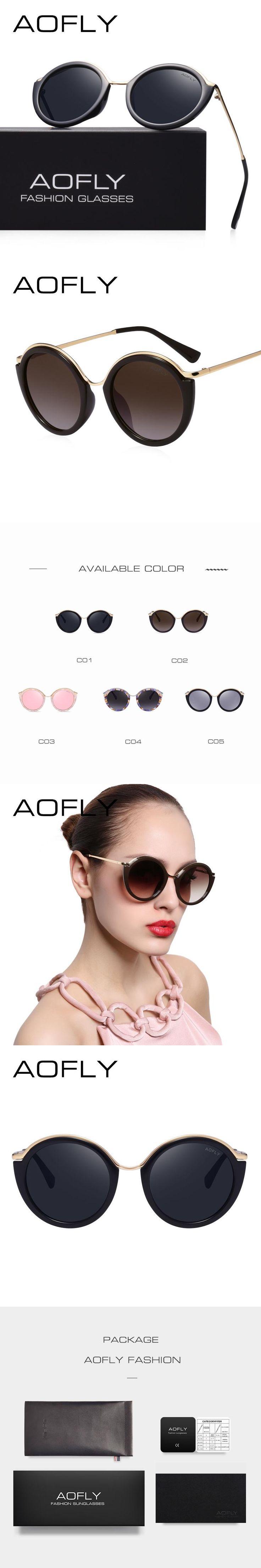 AOFLY Fashion Vintage Round Sunglasses Women Brand Design Sunglasses Eyeglasses Alloy Legs Shades Lunettes de soleil AF7909
