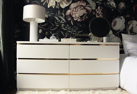 Just strips of gold but what a huge difference.  The IKEA Malm dresser gets glam.