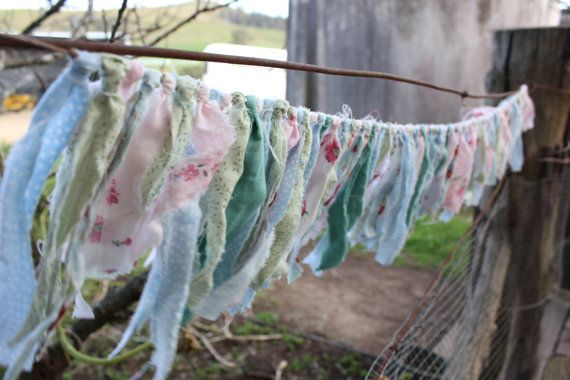 1m long shabby chic material bunting  wedding by littlewhitewillow, $22.00