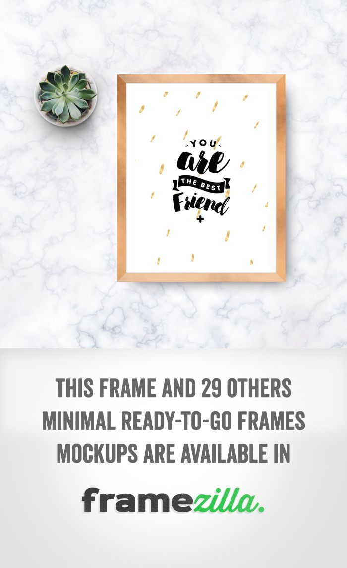 "One of the frames available in ""Framezilla"" - set of 30 frame mockups to show your print. #print #frame #mockup #golden #quote #marble"