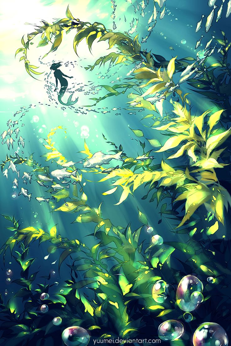 underwater painting plants - 736×1104