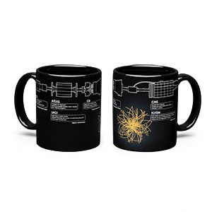 The six major components of the LHC are printed around the circumference of this black mug. When heated, a visualization of a proton-proton collision appears on the mug, possibly producing your own personal Higgs boson!