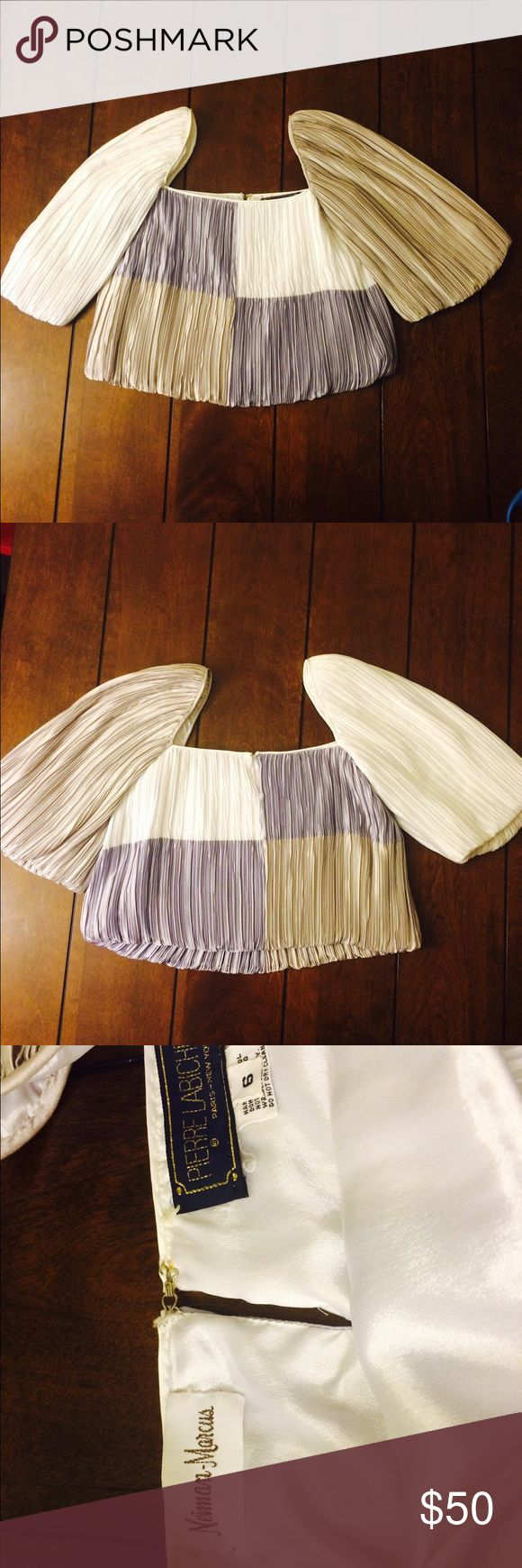 Vintage crop top Pierre labiche (from Neiman Marcus) vintage crinkle top. Poly satin. Grey, dusty lavender, and white. 80s. Super cute over a grey, lavender or white dress. Some tiny snags, but very wearable. Size 6. Measures 10 1/2 inches too to bottom. Tops Crop Tops