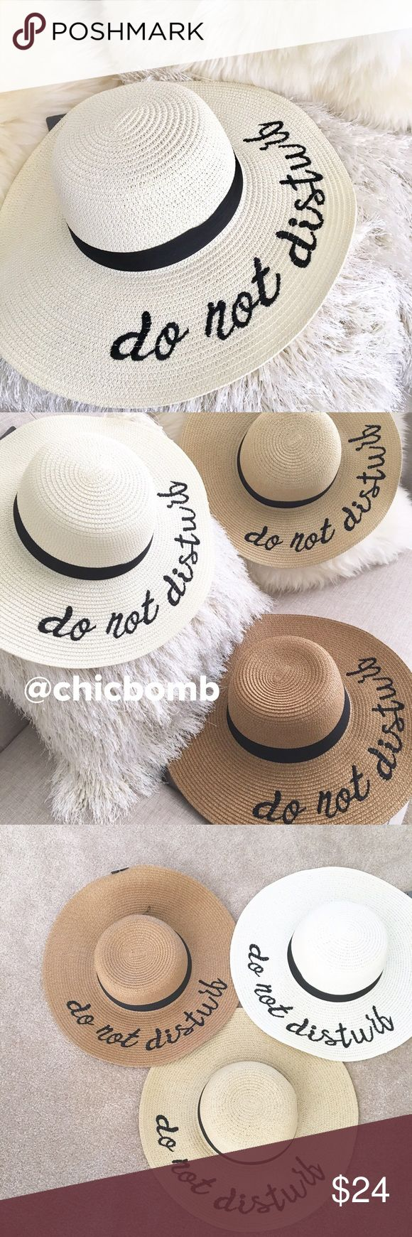 """Statement wide brimmed hat IVORY WHITE MUST HAVE embroidered summer wide brimmed hat. Available in 3 shades. This listing is for IVORY WHITE . Brim measures 16.5"""" with black embroidery statement .   Sturdy brim not too floppy. Well made high quality       . Available in ivory white, ivory or tan .Follow me on  INSTAGRAM: @chic_bomb  and FACEBOOK: @shopchicbomb CHICBOMB Accessories Hats"""