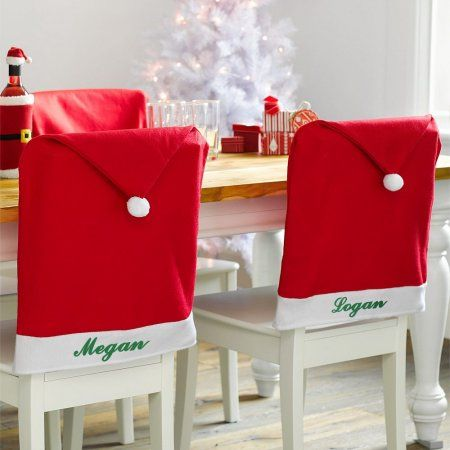 Christmas Chair Covers Dinner Table Santa Hat For Home Decoration Ornaments Gift