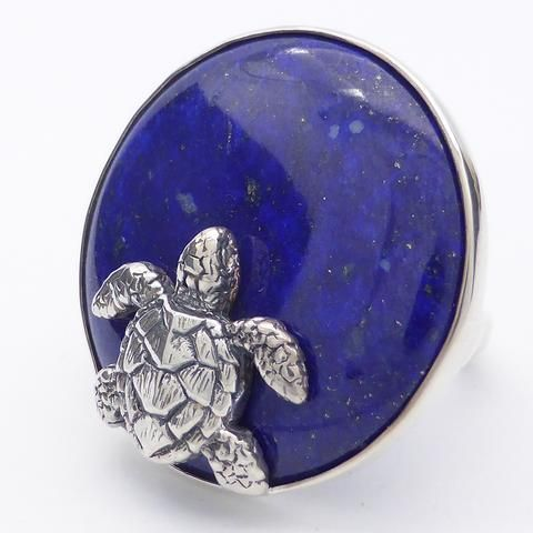 Ring Lapis Lazuli and Turtle | 925 Sterling Silver |  Saggitarius | Meditation | Mindfulness | Inner Truth | Crystal Heart Melbourne Australia since 1986