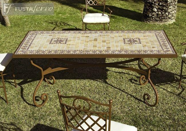 Hosteleria instalaciones mesa de forja artesanal y - Mesas mosaico segunda mano ...