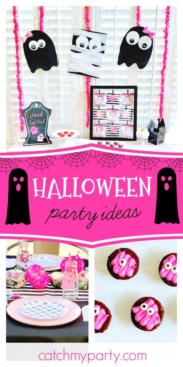 Black White And Pink Halloween Ghoul Girls Kids Halloween Party Catch My Party White Halloween Party Halloween Party Pink Halloween