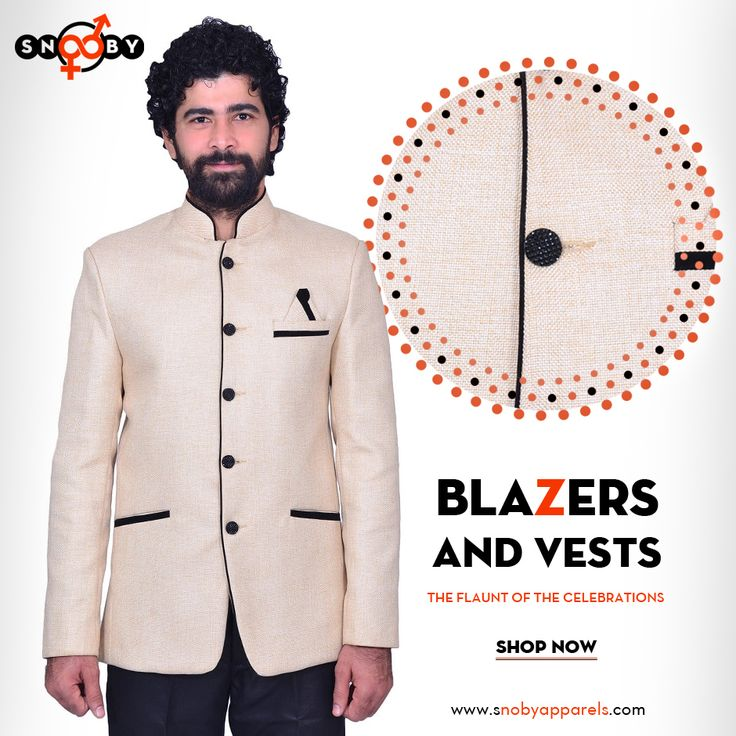Shop this season's #blazer and vests for men and get outstanding prices at #SnobyApparels: http://www.snobyapparels.com/men/designer-section/blazer.html