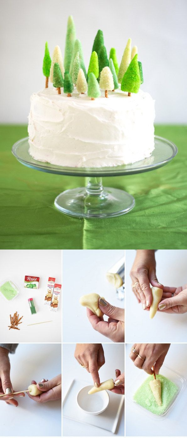 Choose your favorite cake recipe (or use store-bought) and top with cute marzipan trees.