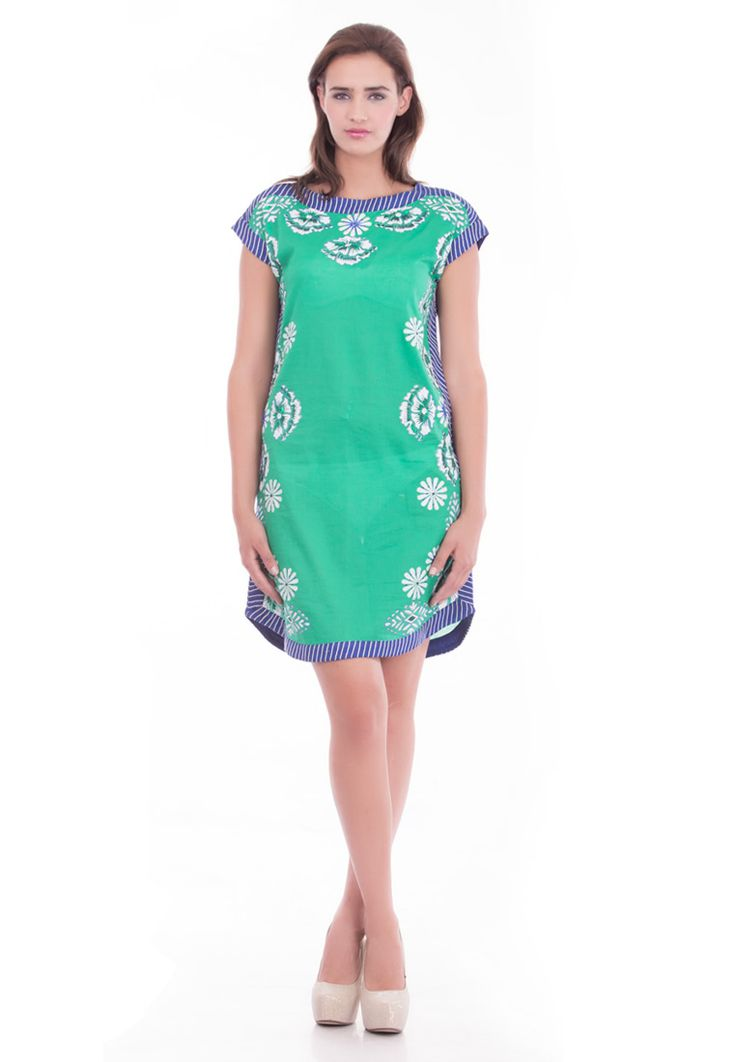 Cotton Color Blocked Shift Dress ( Printed & Embroided ) -> - Cambric Cotton - Green Color - Clolour Block Shift - Detailing on Neck, side and hem - Block Print and Bead Work - Dry Clean  Order Now : http://www.rinkusobti.com/clothing/cotton-color-blocked-shift-dress-(printed-%20embroided)