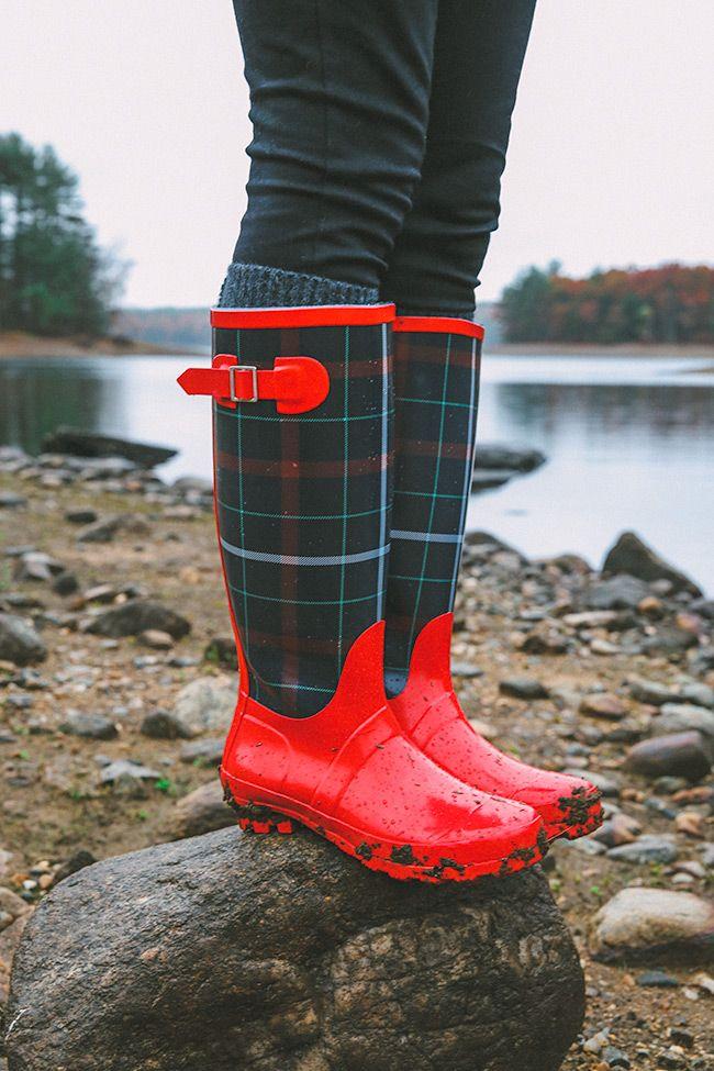 plaid Talbots rain boots