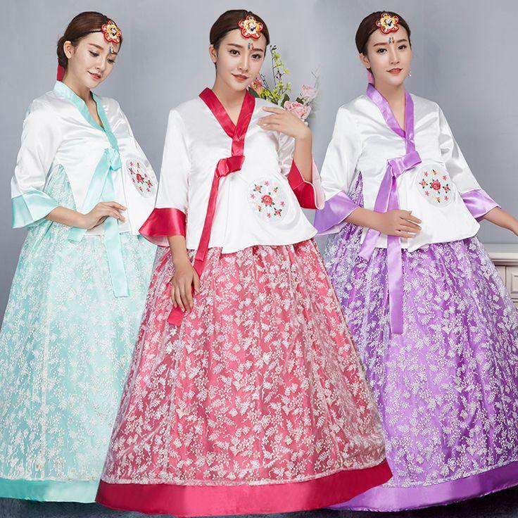 Vestido de 2017 Nuevas Llegadas Coreano Hanbok Tradicional coreano Bordado Vestidos Étnico Tradicional Corte de la Novia Ropa(China (Mainland))