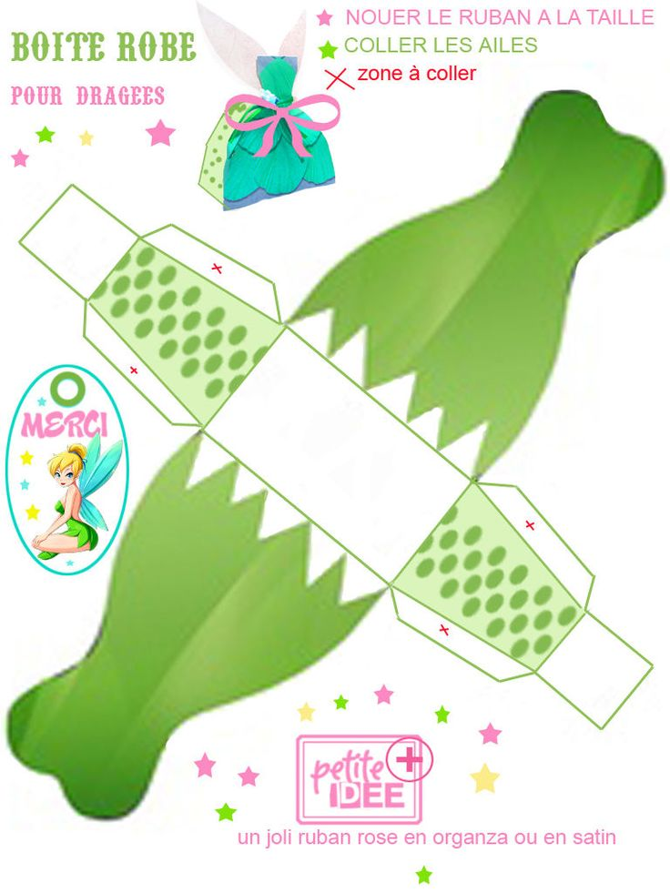 Tinker bell, boxes, bags, invitations, templates.   They have a large variety of themed boxes on this site, and although in French, it doesn't really matter.