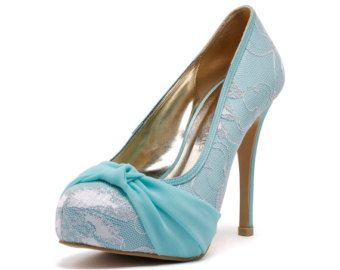Tiffany bleu couvercle Toe mariage talons, Robbin bleu oeuf chaussures de mariage avec dentelle, Something Blue mariage talons, chaussures mariage vert menthe