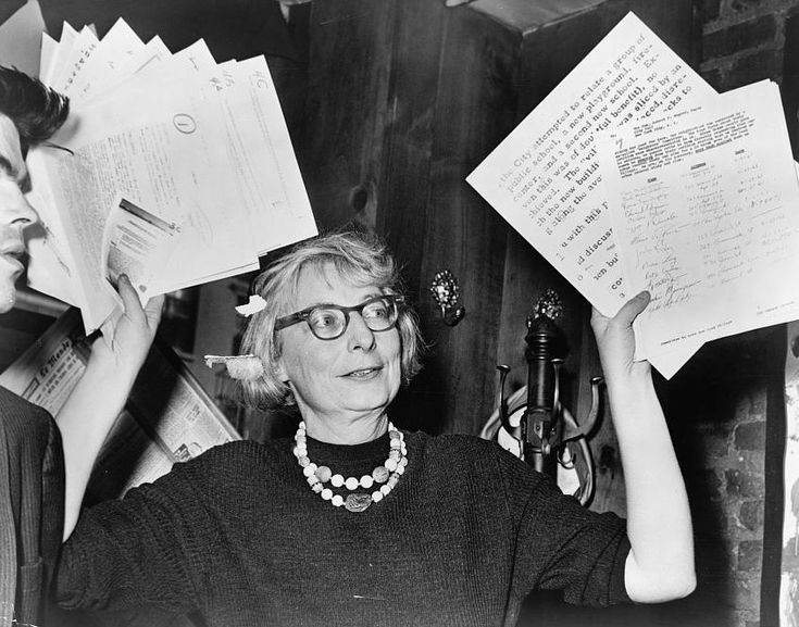Jane Jacobs: 1916-2006; Jane Jacobs was an American journalist, author, and activist best known for her influence on urban studies. Her influential book The Death and Life of Great American Cities argued that urban renewal did not respect the needs of most city-dwellers.  Jacobs is well known for her opposition to plans to overhaul Greenwich Village. She was instrumental in the cancellation of the Lower Manhattan Expressway, and was arrested for inciting a crowd at a hearing on the project.