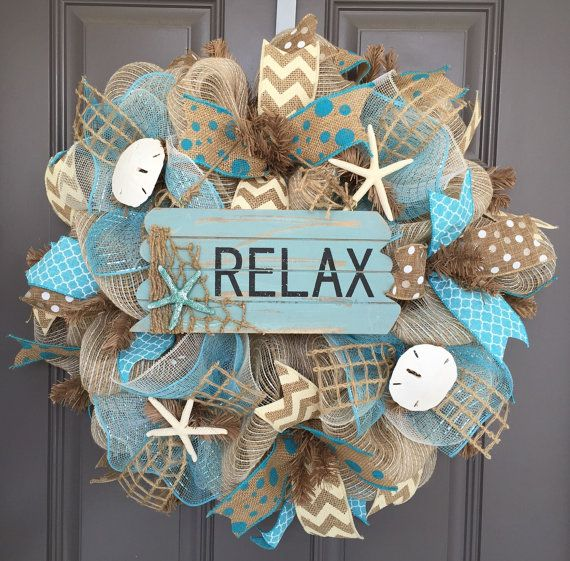 Relax Beach Burlap/Deco Mesh Wreath with by BeautifulMesh on Etsy