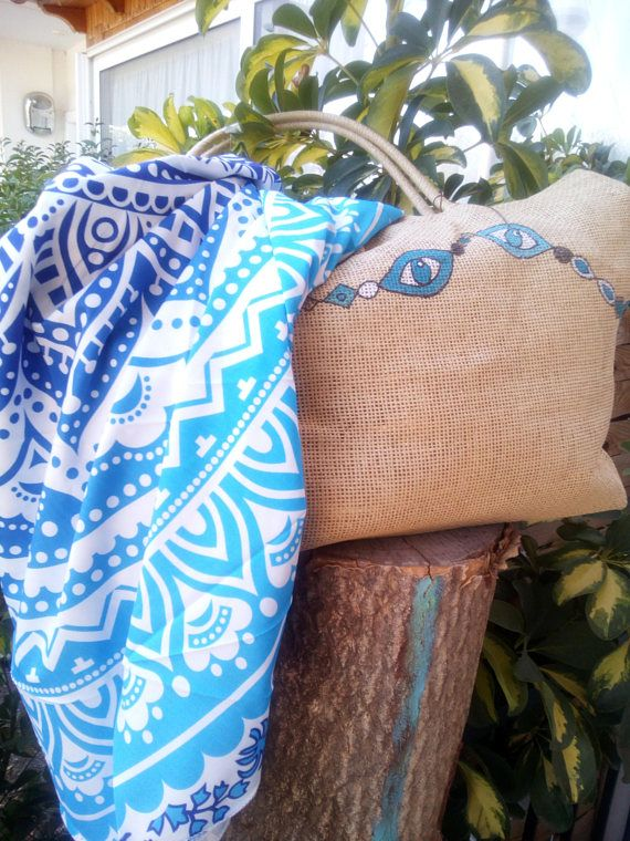 Summer straw shoulder bag handpainted zipper beach bag with