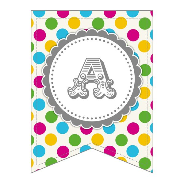 Free Printable - Whole Alphabet Primary Party Polka Dot Banner/Bunting &…