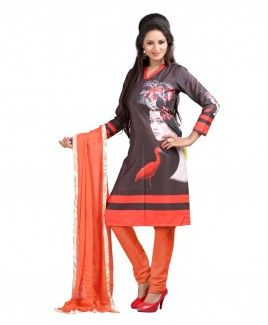 Bunny Sarees Dashing Orange Colour Digital Print Cotton Dress Material