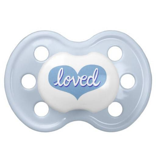 Pacifier Blue heart design Available in a range of designs