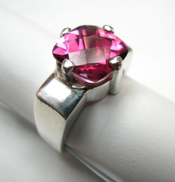 Pink Topaz Ring - love the band!