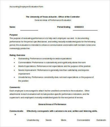 Employee Performance Evaluation Form 30+ Fabulous Templates to