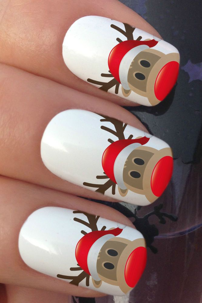 RUDOLPH REINDEER HAT WATER TRANSFER DECALS STICKERS #nails #nailart #nailartstickers