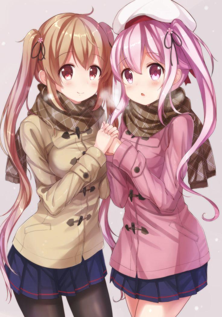 Winter Cute Yuri  Cute Anime  Anime School Girl, Anime -3994