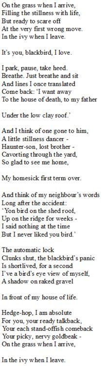 seamus heaney, the blackbird of glanmore