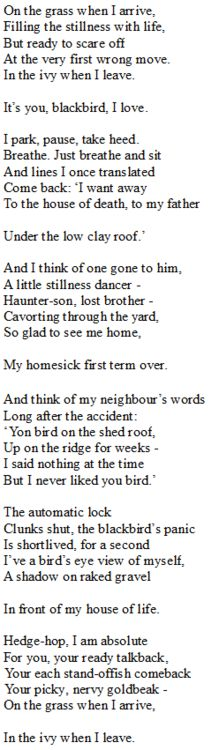 seamus heaney, the blackbird of glanmore