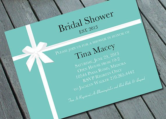 TIFFANY's THEME  Bridal Shower or Bachelorette Invitation: Digital printable file