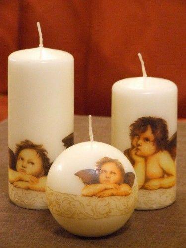 Decoupage - candle with angel. Świece z aniołkami