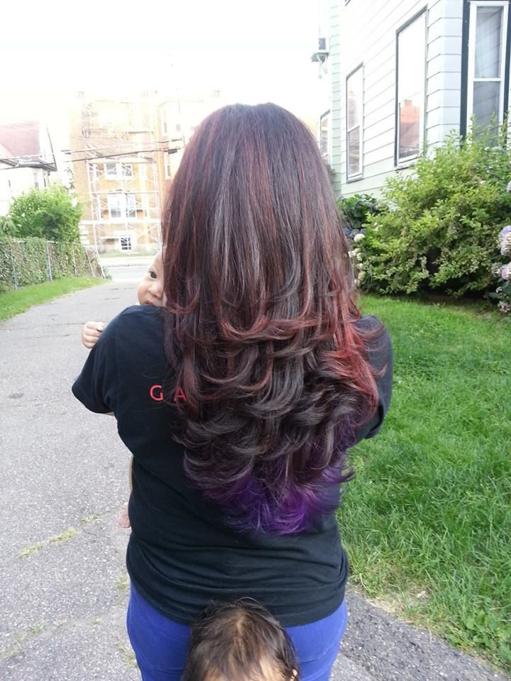 Red Highlights With Purple Peek A Boo Highlights Hair