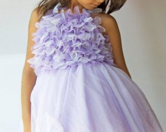 Two-toned Lavender Tulle Dress with Frilly Halter Strap Bodice.