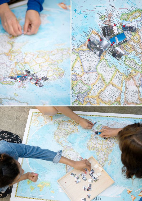 Use a large map and mini travel photos to keep track of places visited!! // Travel Memory Map DIY | Oh Happy Day!Travel Memories, Diy Ideas, Crafts Ideas, Travel Photos, Travel Maps, Maps Diy, Diy Crafts, Memories Maps, Diy Projects