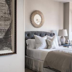 Gray Velvet Tufted Headboard, Transitional, bedroom, Alice Lane Home