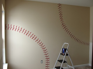 "I Would Do My Own Room This Way! ""Man Cave"" - I'm thinking Baseball on one half, basketball on the other."