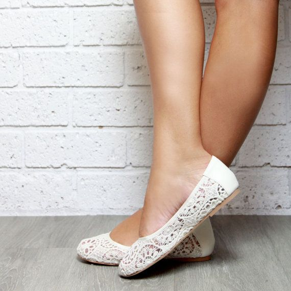 Lace Ivory Ballet Flat Shoes Soft Leather Inner And Lace