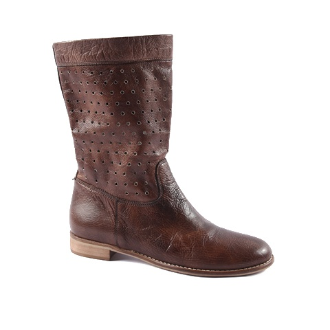 Boot  Upper: Leather  Colors: blue, tan, dark brown