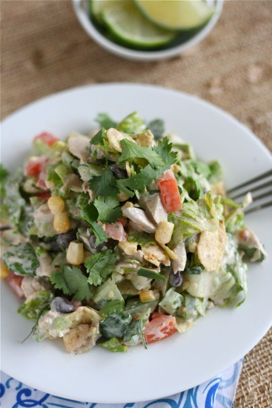 Southwest Chicken Chop Salad- this looks great I would use low-fat ingredients for dressing to lighten the calories and doubt any one be the wiser or use some homemade salsa.