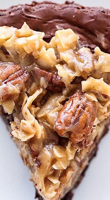 German Chocolate Brownie Pie ~ Rich, ultra chocolat-ey brownie pie covered in a sweet gooey frosting of coconut and pecans.