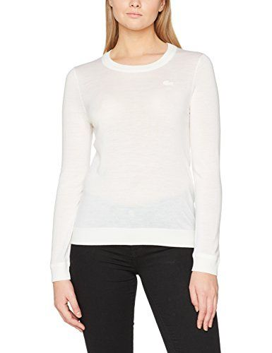 6006a2fcf7 Lacoste AF7686 Pull Femme Jaune (Farine) (Taille Fabricant : 36 ...