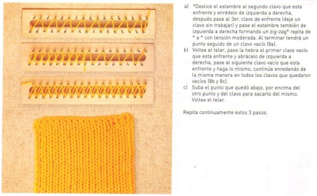 Crochet Stitches In Spanish : Loom knitting stitches, instructions in Spanish ?LLK? Telar ...