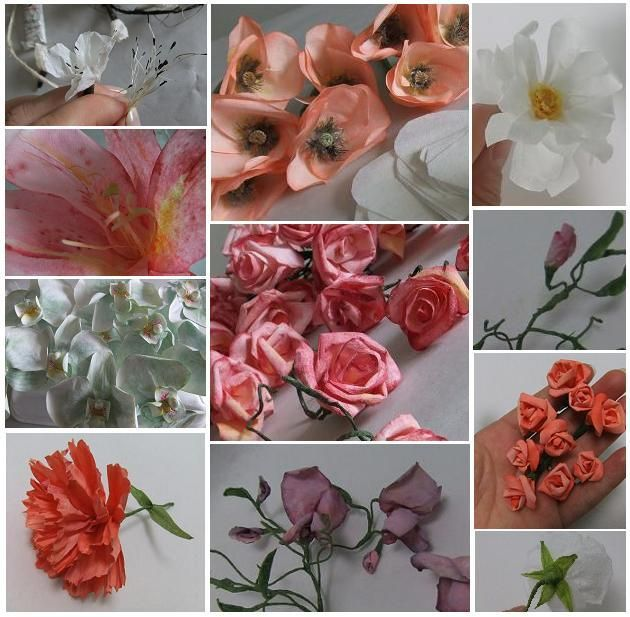 Tutorials for 10 different paper flowers.  She uses coffee filters, tissue paper and crepe paper painted with watercolors.  The rest of the website is mostly live floral arrangements, often using orchids.  Her style is quite distinctive.