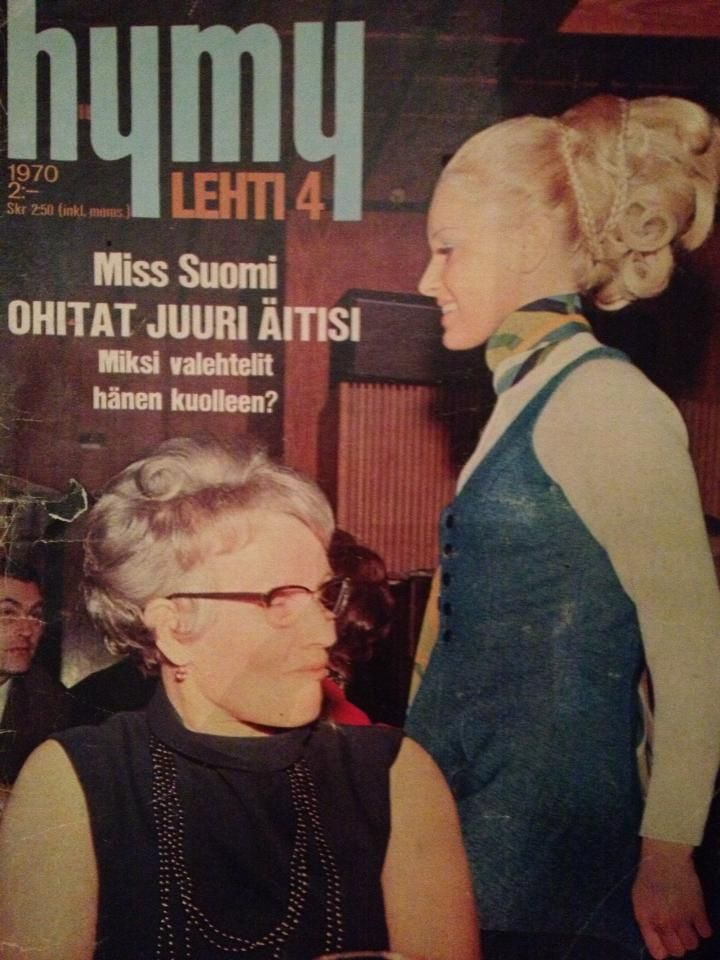 "A great cover of notorious Hymy magazine from the 1970s. ""Miss Finland, you're walking past your mother – why did you say she has died?"""