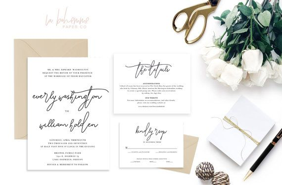 Printable Wedding Invitation Suite / by LaBohemmePaperCo on Etsy