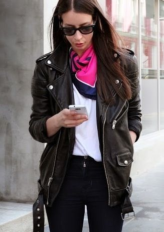 Neckerchiefs are IN this spring, pair with a moto jacket for a cool-girl look