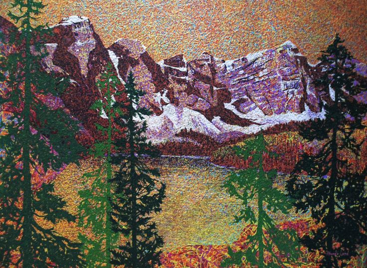 """Valley of the Ten Peaks"" by Artist Rhonda Lund 48 x 36"" Acrylic on Canvas; Staple back 'complimentary exploding colors inspired by a Banff Park scene"